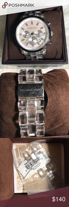 Michael kors woman's MK5235 Acrylic strap watch michael kors clear acrylic strap watch for woman. swarovski crystal in the dial MK5235 Pre owned comes with extra links and box Michael Kors Accessories Watches
