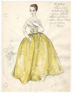 Bergdorf Goodman sketches : Lanvin 1930-1950. 1930-1950. Metropolitan Museum of Art, New York. Costume Institute. Bergdorf Goodman sketches, 1929-1952 Costume Institute. #gorgeous #stunning | Beauty starts with fashion.