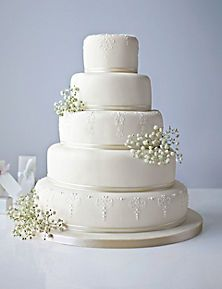 5 Tier White Embroidered Lace Cake by Marks & Spencer