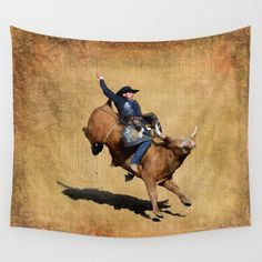 Available in three distinct sizes, our Wall Tapestries are made of 100% lightweight polyester with hand-sewn finished edges. Featuring vivid colors and crisp lines, these highly unique and versatile tapestries are durable enough for both indoor and outdoor use. Machine washable for outdoor enthusiasts, with cold water on gentle cycle using mild detergent - tumble dry with low heat. https://society6.com/product/bronco-bull-rodeo-bull-riding-cowboy-9bo_tapestry?curator=skyeryanevans