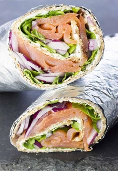 Close-up of smoked salmon and cream cheese wrap cut in half