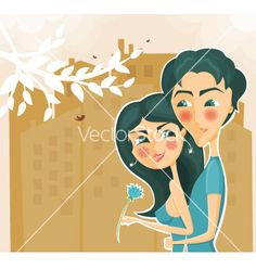 Couple hugging vector on VectorStock®