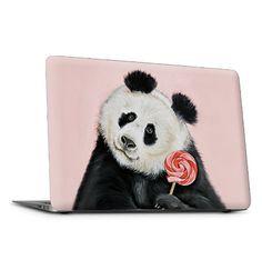 Panda bear Laptop skin Panda bear with lollipop by MimoCadeaux, $55.00