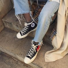 Trendy Sneakers 2018 : Sneakers women Converse x Comme des garçons (diln_) Indie Outfits, Punk Outfits, Grunge Outfits, Fashion Outfits, Fashion Trends, Fashion Clothes, Fashion Fashion, Street Fashion, Fashion Women