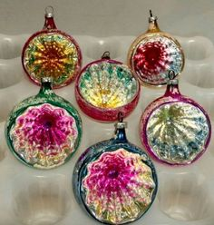 6 Deep Indent Reflector Vintage Christmas Tree Ornaments - Blown Glass. - West Germany.