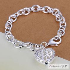 Armband Herz Romatik groß Sterling  Silber  im Organza
