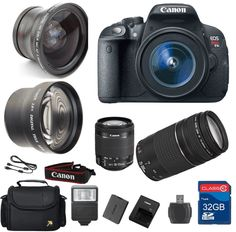 Canon T5i DSLR Camera   18-55mm IS STM Lens   75-300mm III Telephoto Lens   Wide Angle Lens  Telephoto Lens   32GB Memory   Flash - International Version *** You can find out more details at the link of the image. (This is an Amazon Affiliate link and I receive a commission for the sales)