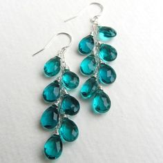 Peacock Teal Blue Quartz Earrings Long Dangle  Sharon/CJ these are really nice, would like with some with silver wire and some with brassy wire.   I would wear these often.  Neutrals/brights.  Bet they would all look nice.