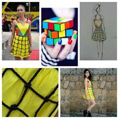 Cubo mágico Fashion - roupa toda criada por mim para o Fashion Bus 2014 inspirado no amor ludus, que é o amor brincalhão. Elemento de Design: cubo mágico! #fashiondesign