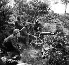 Vickers machine guns of 2nd Middlesex Regiment, British 3rd Division firing in support of troops crossing the Meuse-Escaut (Maas-Schelde) Canal at Lille-St. Hubert, Belgium, 20 Sep 1944. (Imperial War Museum)