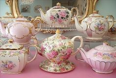 Vintage china tea pots, pink and floral