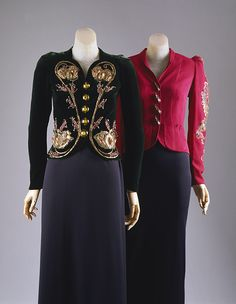 "'Bolero' Evening jacket, 1938 Elsa Schiaparelli: Deep magenta rayon crepe embroidered with metallic thread and polychrome sequins with plastic insect buttons.er suit consisted of a bolero or flared jacket that could be removed for the evening, and a sleeveless sheath dress. Unlike the previous decade, the 1930s dictated different skirt lengths for different hours: the silk, rayon, or wool crepe sheath of the dinner suit was steadfastly ankle or ""cocktail"" length."
