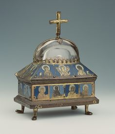 Domed Reliquary Date: ca. 1170–80 Culture: German (Hildesheim) Medium: Gilded copper, champlevé enamel, and rock crystal; wood core Dimensions: Overall: 9 x 6 3/8 in. (22.8 x 16.2 cm) Classification: Enamels-Champlevé