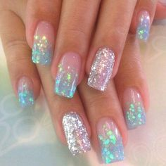 32 Popular Mermaid Nail Designs For You To Try 36 Amazing Manicure Hacks You Should Know Halloween extra long stiletto nails, werewolf nails, monster, witch, Colorful Nail Designs, Acrylic Nail Designs, Nail Art Designs, Glitter Nail Designs, Nails With Glitter Tips, Awesome Nail Designs, Popular Nail Designs, Pretty Nail Designs, Winter Nails
