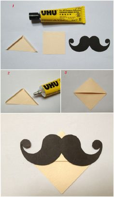 DIY: Mustache bookmark corner!  Tracy, u can make this for Kendra.