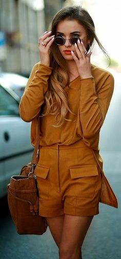 Burnt sienna matching top and shorts