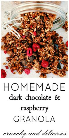 Start your day right with seriously amazing raspberry and chocolate chunk granola.or just eat it straight from the jar for a snack throughout the day - it's chocolate, how could you say no? Healthy Breakfast Recipes, Brunch Recipes, Snack Recipes, Dessert Recipes, Delicious Recipes, Desserts, Healthy Recipes, Crockpot Recipes, Easy Recipes