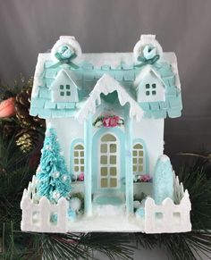 Putz Glitter House Village Vintage Mint Cottage Window Boxes by applecrafty on Etsy