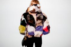 Multi coloured fur coat