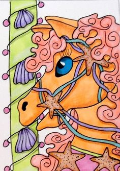 ACEO CAROUSEL BEACHY HORSE 3 ON EBAY