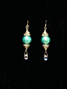 Teal Pearl earrings  Pearls and rhinestones by UniquelyArdath, $12.99