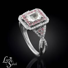 Emerald Cut White Sapphire Ring with Light Pink Sapphire Halo - LS2546