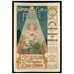 Original 'Automobile Club de France' poster, 1902 | From a unique collection of antique and modern posters at http://www.1stdibs.com/furniture/wall-decorations/posters/