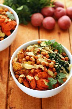 Roasted Potato & Veggie Power Bowl - ilovevegan.com