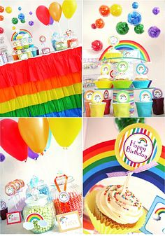 Rainbow themed birthday party with ideas on DIY decorations using printables, party favors, food and fun! Great ideas to copy for St Paddy's day too!