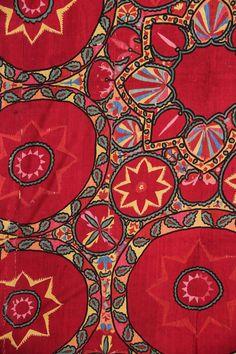 Uzbek suzani detail | embroidered silk, Tashkent region, Uzbekistan, circa 1880.