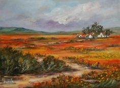 Namakwaland flower season in Spring up the West Coast of South Africa. It is a never-ending splendour of colour and varieties. Landscape Art, Landscape Paintings, South African Artists, Country Art, Old Barns, Art Oil, Oil Paintings, Trees To Plant, West Coast