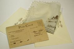 Invitation on Vintage Handkerchiefs with RSVP printed on Vintage Postcards $5.70/set when ordering 100+