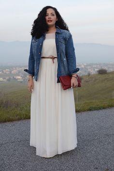 White Maxi Dress, Denim Jacket