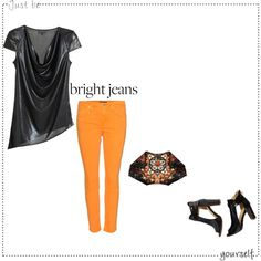 """How Do You Style Bright Jeans?"" by musicfriend1 on Polyvore"