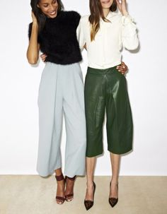 Spring Fashion Ideas: How to wear culottes / cropped pants with heels.