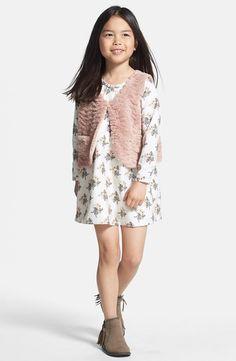 Super cute floral print dress with soft vest!