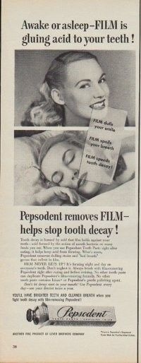 "Description: 1950 PEPSODENT TOOTH PASTE vintage print advertisement ""Awake or asleep -- FILM is gluing acid to your teeth !"" ""Pepsodent removes FILM -- helps stop tooth decay ! Another fine product of Lever Brothers Company"" Size: The dimensions of the half-page advertisement are approximately 5.5 inches x 14 inches (14 cm x 36 cm). Condition: This original vintage advertisement is in Very Good Condition unless otherwise noted."