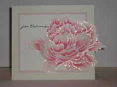 handmade card ... one gorgeous stamped flower ... sparkly lines ... clean and simple card layout ... simply divine!!