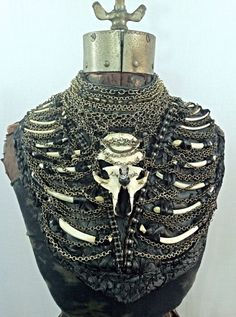 Black Leather Bone and Chain Breast Plate Body by AdornedImmortal, $1200.00