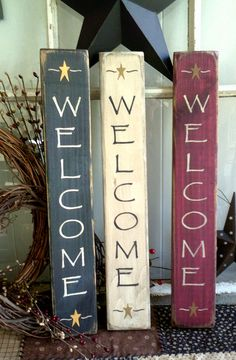 Welcome sign vertical primitive wooden sign =-