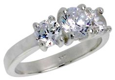Sterling Silver 1.0 Carat Size Brilliant Cut Cubic Zirconia Bridal Ring (Available in Sizes 6 to 10) size 7