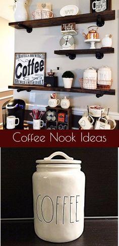 DIY Kitchen coffee nook ideas - love them all!