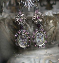 Victorian Violets vintage assemblage earrings by crownedbygrace