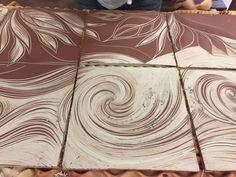Sgraffito #carved #custom #backsplash from Natalie Blake Studios