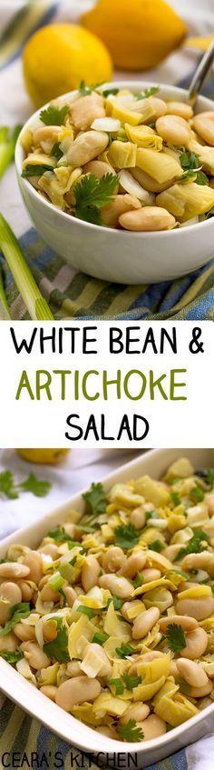 White Bean and Artichoke Salad - with a light lemon dijon vinaigrette