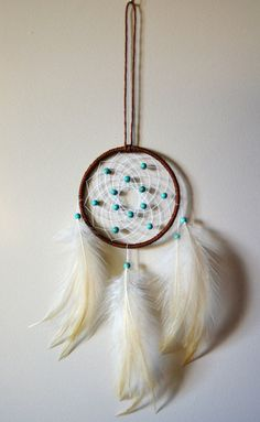 Brown Dream Catcher with Turquoise beads. by DreamySummerNights, $5.00