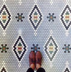 Hex tile patterns at little green notebook Hex Tile, Penny Tile, Hexagon Tiles, Stone Tiles, Mosaic Tiles, Hexagon Pattern, Tiling, Floor Patterns, Mosaic Patterns
