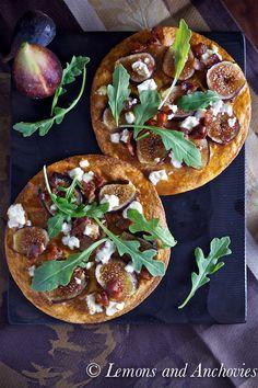 #Tortilla #Pizza with #Figs, #Feta, #Bacon and #Arugula