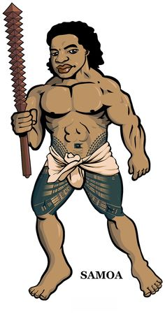 Another in the series of Polynesian warrior figures by Michael Lothiam and Sam ʻOhu Gon. This intermediate draft does not include the bleached hair described in early accounts of Sāmoa.