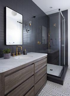 Dark bathrooms design masculine dark gray small bathroom - e Masculine Bathroom, Small Bathroom Tiles, Bathroom Flooring, Bathroom Shower Tile, Black Bathroom, Big Bathrooms, Bathrooms Remodel, Tile Bathroom, Modern Small Bathrooms